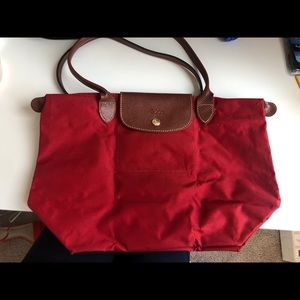 Medium Red Le Pliage Longchamp Tote